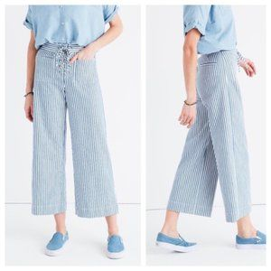 Madewell Blue & White Stripe Wide-Leg Crop Pants